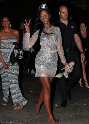 In the partying mood: Kim Porter was also at the bash and appeared to ...