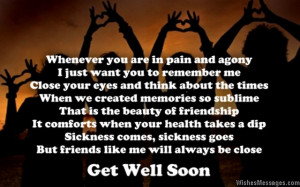 Sweet get well soon greeting card poem for friends