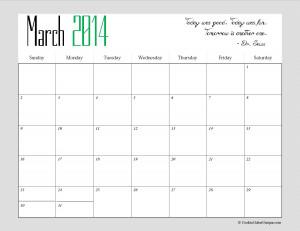 2014 Calendar March