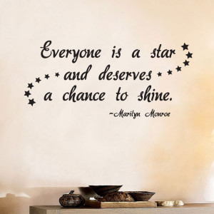 MARILYN-MONROE-Everyone-is-a-Star-Shine-Quote-Vinyl-Wall-Window-Decal ...