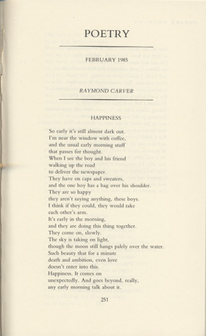 """Tagore's Soul and Raymond Carver's """"Happiness"""""""