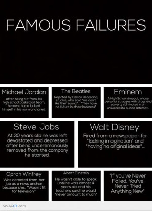 Don't be afraid to fail. Look at these famous failures