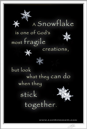 snowflake is one of God's most fragile creations, but look what they ...