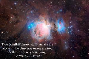 arthur c. clarke quote aliens life forms universe space science