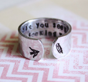 ... quote, yoga ring, bird, feather, inspirational quote ring, secret