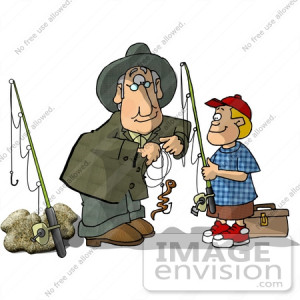 Royalty-free clipart of a grandfather man in green, helping to hook a ...