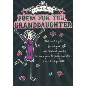 ... Purple Ronnie Poem For You Granddaughter - Granddaughter Birthday Card