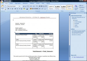 Product Line Items for a Quote in Word Mail Merge using