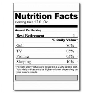 Retirement Funny Nutrition label Postcards