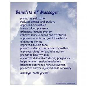CafePress > Wall Art > Posters > Benefits Of Massage 16X20 Blue Poster