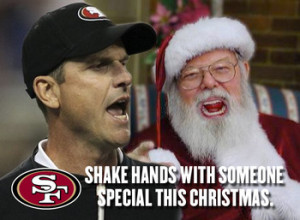 Jim Harbaugh wouldn't dare bump into that Santa during an aggressive ...