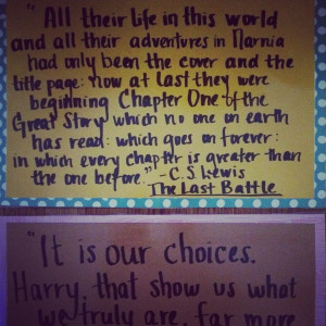 ... quotes from young adult literature and pretty paper! I used Narnia