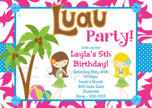 ... Beach Party Invitation Print Your Own or Have us Print for You