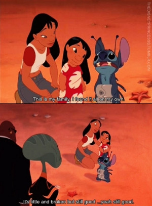 broken, cute, disney, family, love, quote, stitch, subtitle, subtitles ...