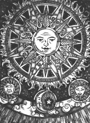 art trippy hippie boho moon psychedelic sun