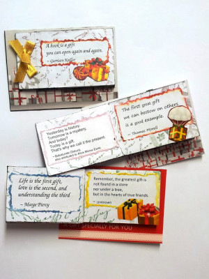... -stamped paper, and filled with cut-out gifts and quotes on gifts