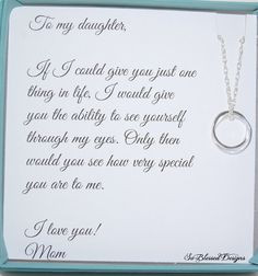 DAUGHTER necklace To Daughter from Mom Double by SoBlessedDesigns, $39 ...