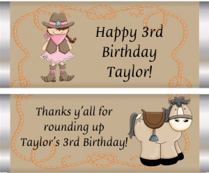 Re: cowgirl birthday party sayings