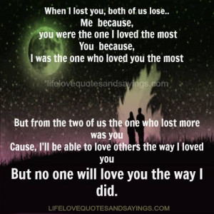 When I lost you..