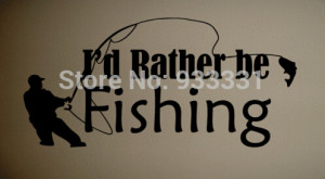 Rather be Fishing Art Wall Quote Decal Vinyl(China (Mainland))