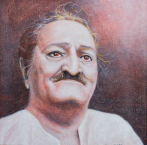 Portrait of Meher Baba by Diana LePage (cropped)
