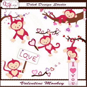 Cute Dilek Valentine Monkey clipart perfect for your craft project ...