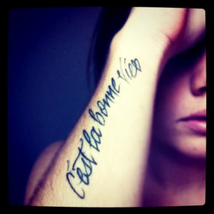 My 2nd of 3 tattoos. I am french so reminds me of my family & to ...