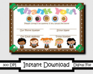 Printable Thank You Girl Scout Card s Brownies ...