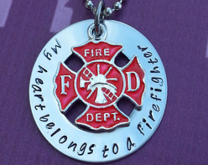 Firemans Wife Necklace - My Heart Belongs to a Firefighter Necklace ...