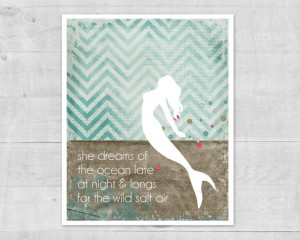 Mermaid Poster - Ocean Dreams Salt Air - Beach Inspired Digital Art ...