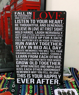 Details about Fall in LOVE be Passionate & Fearless Tin Metal Sign ...