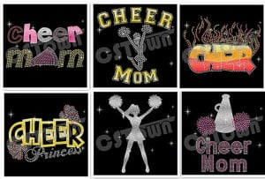 Glitter cheer mom hotfix rhinestone transfers