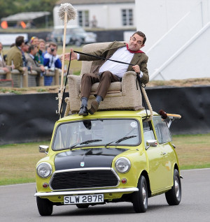 Action replay for Mr Bean as he takes another spin on TOP of his Mini ...