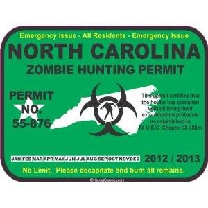 North Carolina zombie hunting permit