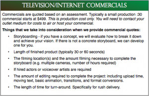 Television/Internet Commercial Production