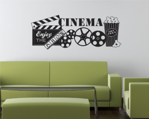 Movie Popcorn Theater Show Vinyl Decor Wall Lettering Words Quotes ...