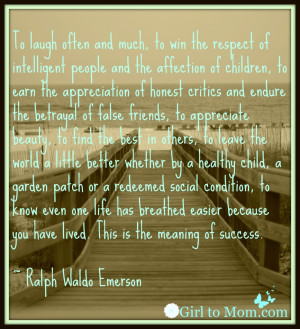 Quotes Emerson Success ~ Success Quote- Ralph Waldo Emerson | Girl to ...