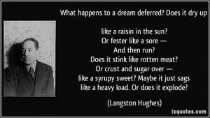... it just sags like a heavy load. Or does it explode? - Langston Hughes