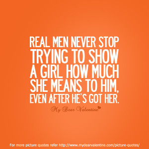 Real men never stop