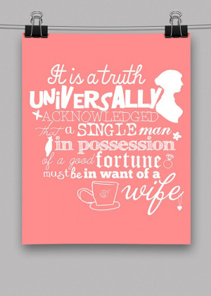 Pride and Prejudice Quote Print - 8.x10 - Pink - White - Doodles ...