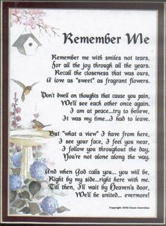 Poem remember me.. How i miss my family and lost ones!!