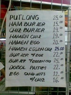 Funny Pinoy Fast Food Menu