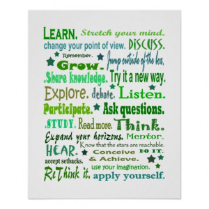 Words of wisdom poster. Learning collage print.