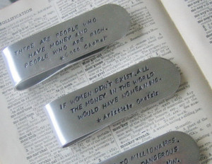 Famous Quote Aluminum Hand Stamped Money Clip, $16Perfect for the guy ...