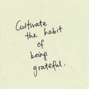 Cultivate the habit od being grateful