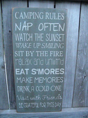 Camping Rules Sign. Maybe I could do this on canvas or Duck Cloth for ...