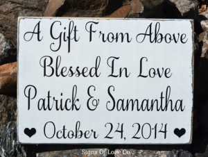 Wedding Decor Sign Personalized Gift Religious Gift From Above Blessed