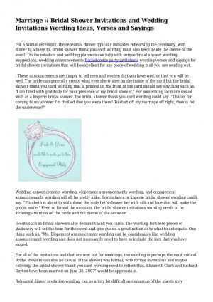 ... Invitations and Wedding Invitations Wording Ideas, Verses and Sayings
