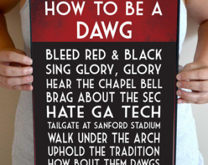 Georgia Bulldogs Art Print, Georgia Bulldogs Quote Poster Sign ...