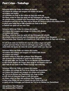 Paul Celan: Die Todesfuge poetri passion, die todesfug, paul celan